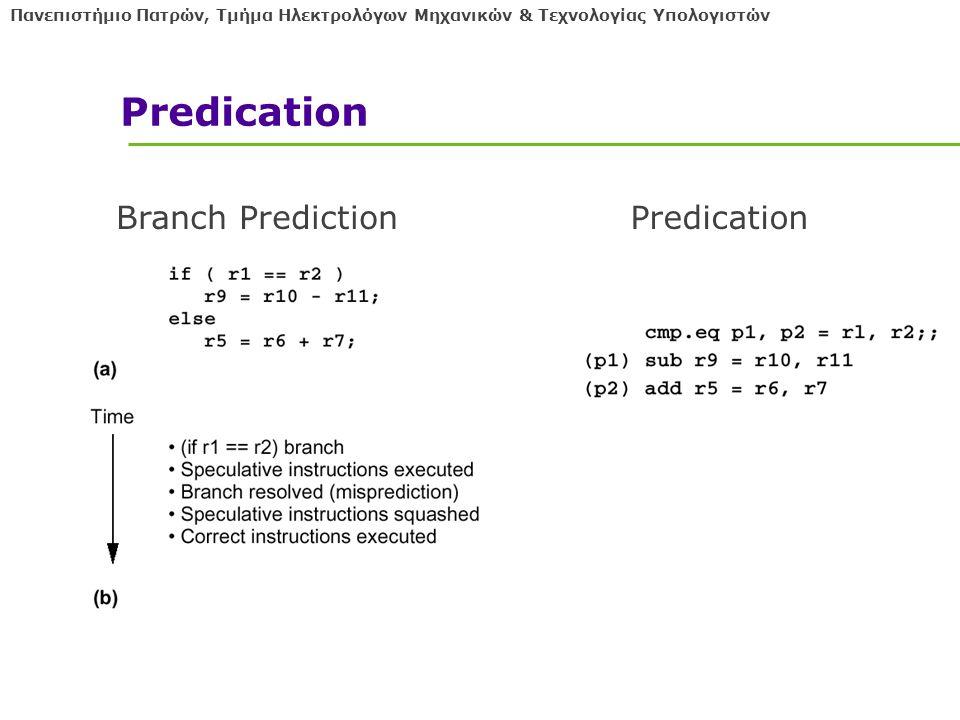 Πανεπιστήμιο Πατρών, Τμήμα Ηλεκτρολόγων Μηχανικών & Τεχνολογίας Υπολογιστών Predication Branch PredictionPredication