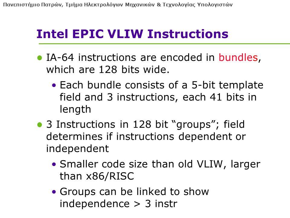 Πανεπιστήμιο Πατρών, Τμήμα Ηλεκτρολόγων Μηχανικών & Τεχνολογίας Υπολογιστών Intel EPIC VLIW Instructions IA-64 instructions are encoded in bundles, which are 128 bits wide.