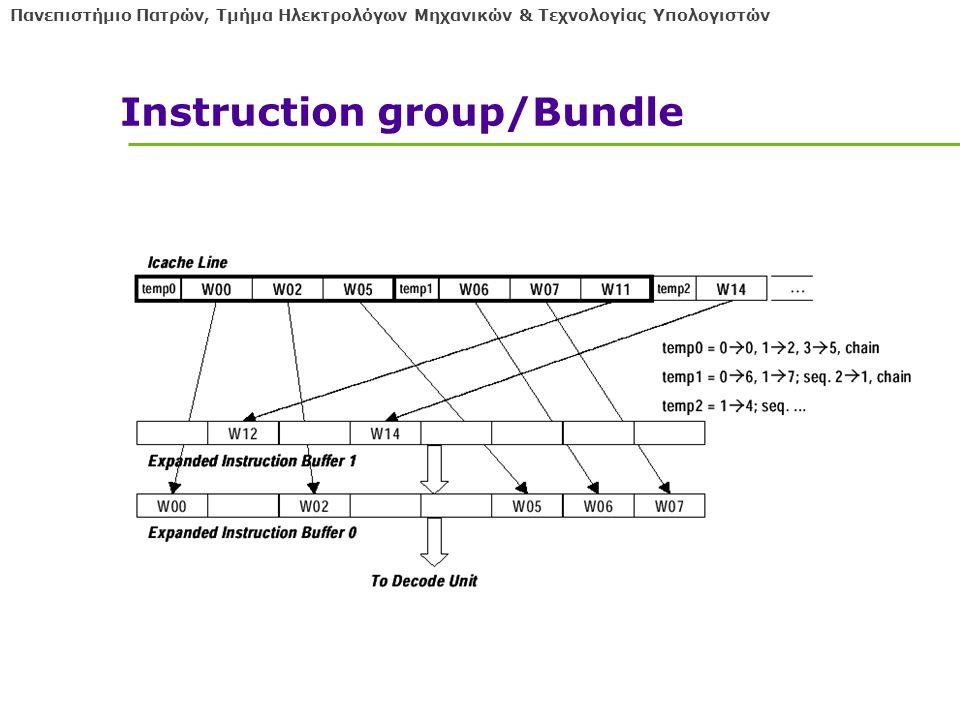 Πανεπιστήμιο Πατρών, Τμήμα Ηλεκτρολόγων Μηχανικών & Τεχνολογίας Υπολογιστών Instruction group/Bundle