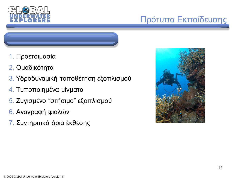 15 1. Προετοιμασία 2. Ομαδικότητα 3. Υδροδυναμική τοποθέτηση εξοπλισμού 4.
