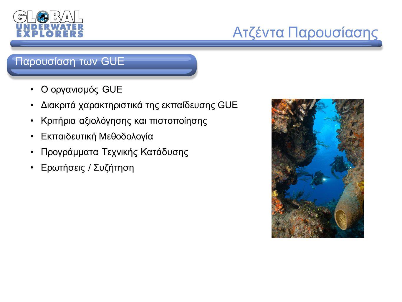 Ο oργανισμός GUE Διακριτά χαρακτηριστικά της εκπαίδευσης GUE Κριτήρια αξιολόγησης και πιστοποίησης Εκπαιδευτική Μεθοδολογία Προγράμματα Τεχνικής Κατάδυσης Ερωτήσεις / Συζήτηση Παρουσίαση των GUE Ατζέντα Παρουσίασης