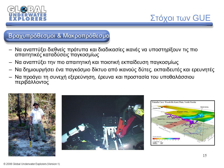 45 Διαμόρφωση Εξοπλισμού Αναπτύχθηκε από πρωτοπόρους εξερευνητές Εξελίχθηκε για να χρησιμοποιείται σε κάθε περιβάλλον Βασικό χαρακτηριστικό σε όλα τα εκπαιδευτικά προγράμματα GUE Ιστορική αναδρομή © 2006 Global Underwater Explorers (Version 1)