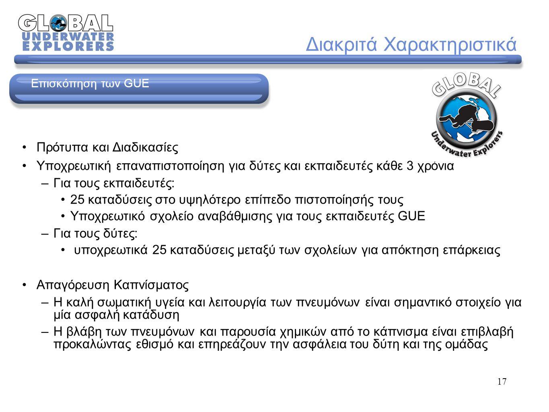 46 Διαμόρφωση Εξοπλισμού Μινιμαλισμός και υδροδυναμική Η χρησιμότητα αποτέλεσε τη βασική παράμετρο στην επιλογή του συστήματος και των περιφερειακών μερών Τα βασικά στοιχεία παραμένουν πανομοιότυπα σε κάθε μορφή κατάδυσης Η διαμόρφωση σχεδιάστηκε για να μειώνεται η αντίσταση Επισκόπηση © 2006 Global Underwater Explorers (Version 1)