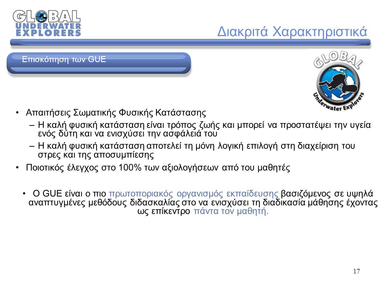 10 Κριτήρια Αξιολόγησης © 2006 Global Underwater Explorers (Version 1) Βαθμίδες Αξιολόγησης: Επιτυχών/ούσα Μετεξεταστέος/α Αποτυχών/ούσα Βαθμός 1: Επισφαλής δύτης Βαθμός 2: Δεν μπόρεσε να ολοκληρώσει την απαιτούμενη δεξιότητα/άσκηση ικανοποιητικά.