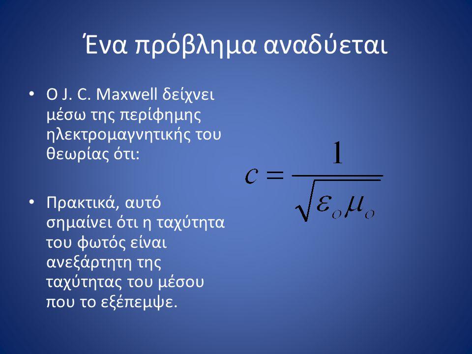 Ένα πρόβλημα αναδύεται Ο J. C. Maxwell δείχνει μέσω της περίφημης ηλεκτρομαγνητικής του θεωρίας ότι: Πρακτικά, αυτό σημαίνει ότι η ταχύτητα του φωτός