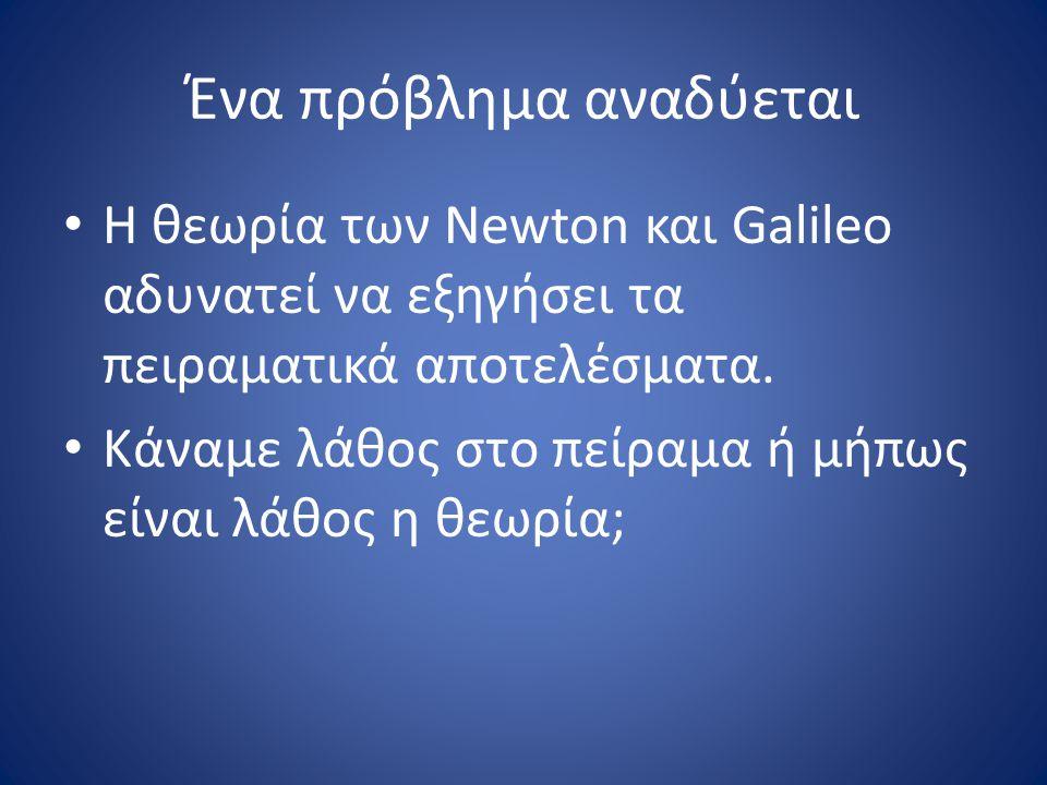 Ένα πρόβλημα αναδύεται Η θεωρία των Newton και Galileo αδυνατεί να εξηγήσει τα πειραματικά αποτελέσματα. Κάναμε λάθος στο πείραμα ή μήπως είναι λάθος