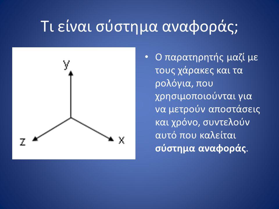 Τι είναι σύστημα αναφοράς; Αδρανειακό σύστημα αναφοράς είναι το σύστημα που ισχύει ο πρώτος νόμος του Newton.