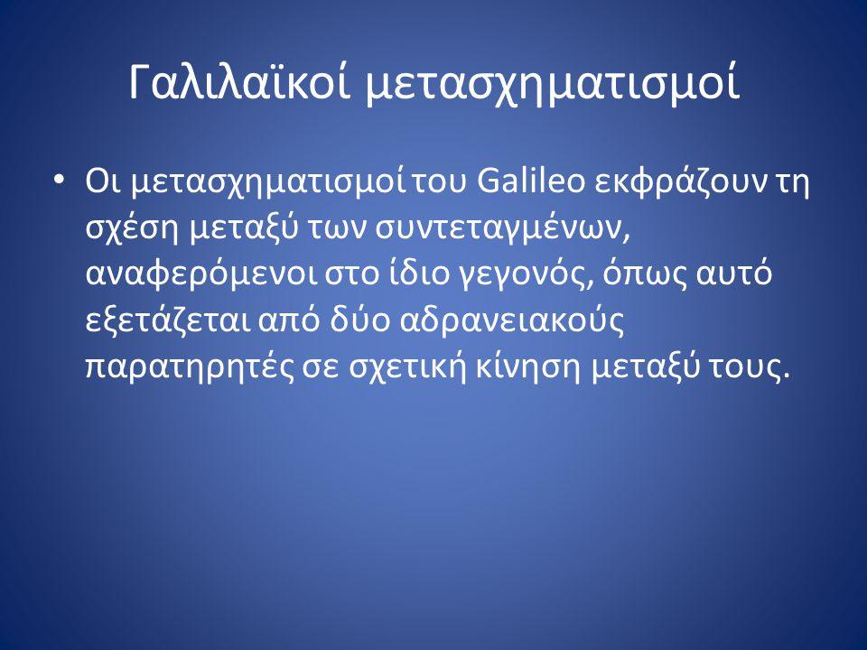 Γαλιλαϊκοί μετασχηματισμοί Οι μετασχηματισμοί του Galileo εκφράζουν τη σχέση μεταξύ των συντεταγμένων, αναφερόμενοι στο ίδιο γεγονός, όπως αυτό εξετάζ