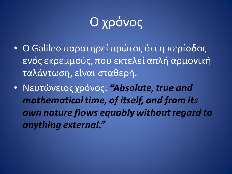 """Ο χρόνος Ο Galileo παρατηρεί πρώτος ότι η περίοδος ενός εκρεμμούς, που εκτελεί απλή αρμονική ταλάντωση, είναι σταθερή. Νευτώνειος χρόνος: """"Absolute, t"""