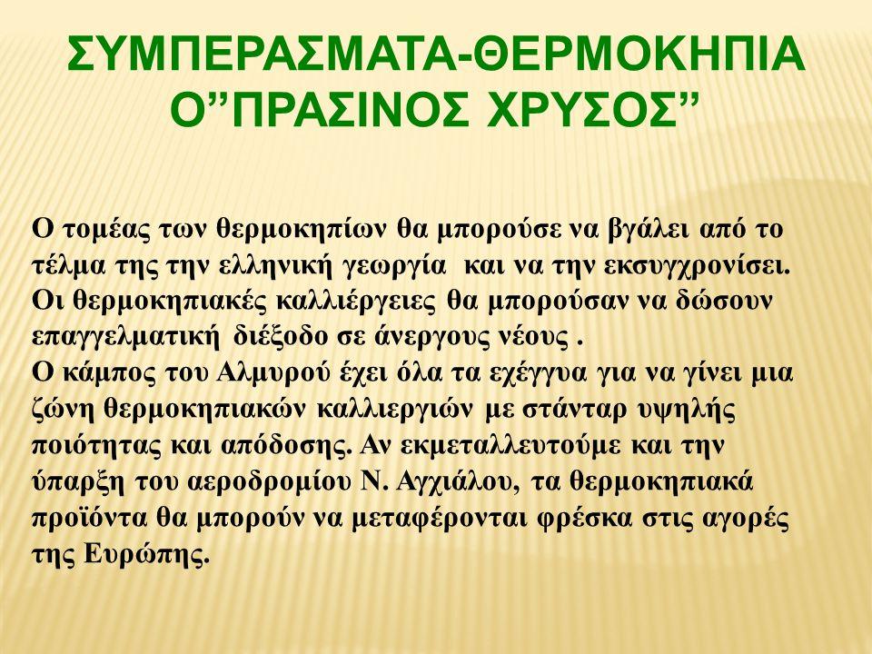 """ΣΥΜΠΕΡΑΣΜΑΤΑ-ΘΕΡΜΟΚΗΠΙΑ Ο""""ΠΡΑΣΙΝΟΣ ΧΡΥΣΟΣ"""" Ο τομέας των θερμοκηπίων θα μπορούσε να βγάλει από το τέλμα της την ελληνική γεωργία και να την εκσυγχρονίσ"""