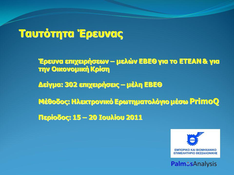 Ταυτότητα Έρευνας Έρευνα επιχειρήσεων – μελών ΕΒΕΘ για το ΕΤΕΑΝ & για την Οικονομική Κρίση Δείγμα: 302 επιχειρήσεις – μέλη ΕΒΕΘ Μέθοδος: Ηλεκτρονικό Ερωτηματολόγιο μέσω PrimoQ Περίοδος: 15 – 20 Ιουλίου 2011
