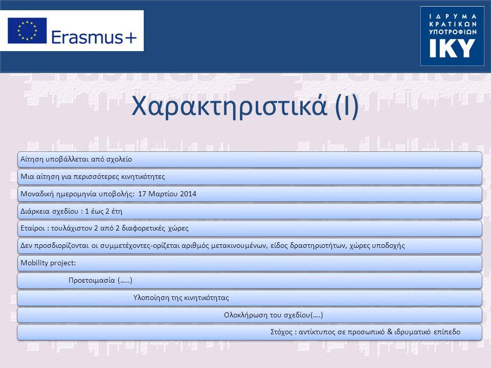 Χαρακτηριστικά (I) Αίτηση υποβάλλεται από σχολείοΜια αίτηση για περισσότερες κινητικότητεςΜοναδική ημερομηνία υποβολής: 17 Μαρτίου 2014Διάρκεια σχεδίο
