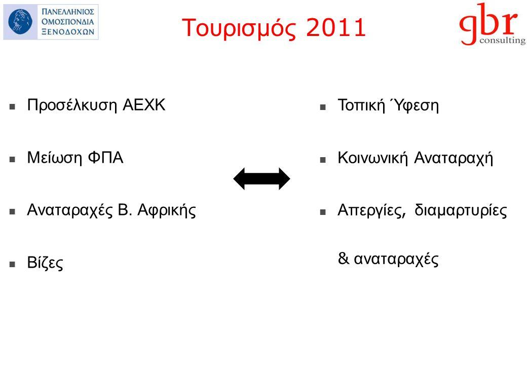 Τουρισμός 2011 Προσέλκυση ΑΕΧΚ Μείωση ΦΠΑ Αναταραχές Β.