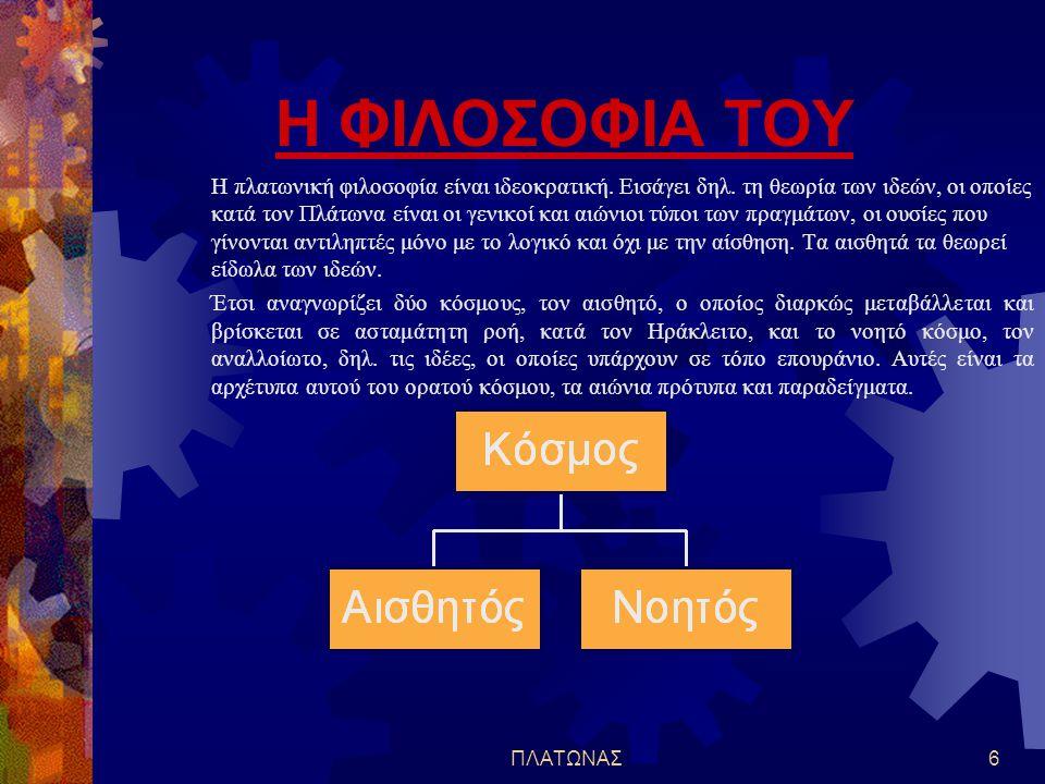 ΠΛΑΤΩΝΑΣ5 Το σύνολο του πλατωνικού έργου διακρίνεται σε τρεις περιόδους με βάση τη χρονολογική σειρά:  α) Περίοδος της νεότητας (400 - 387 π.Χ): Σ' α