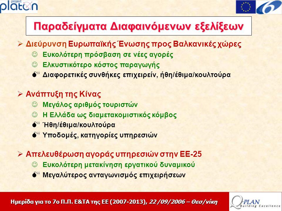 Ημερίδα για το 7ο Π.Π. Ε&ΤΑ της ΕΕ (2007-2013), 22 /09/2006 – Θεσ/νίκη  Διεύρυνση Ευρωπαϊκής Ένωσης προς Βαλκανικές χώρες Ευκολότερη πρόσβαση σε νέες