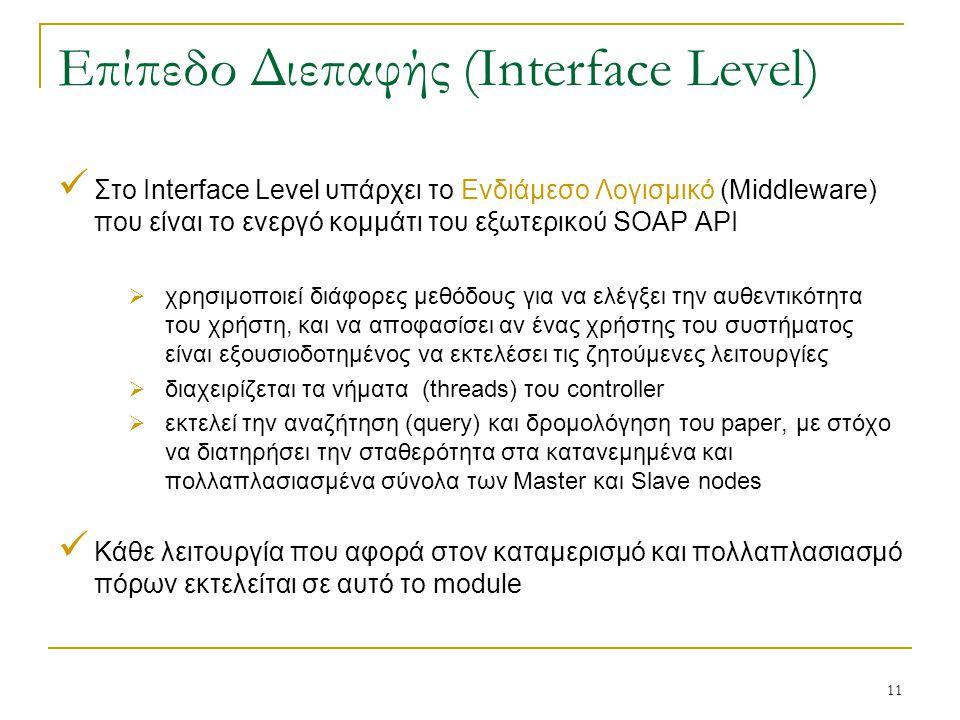 11 Επίπεδο Διεπαφής (Interface Level) Στο Interface Level υπάρχει το Ενδιάμεσο Λογισμικό (Middleware) που είναι το ενεργό κομμάτι του εξωτερικού SOAP API  χρησιμοποιεί διάφορες μεθόδους για να ελέγξει την αυθεντικότητα του χρήστη, και να αποφασίσει αν ένας χρήστης του συστήματος είναι εξουσιοδοτημένος να εκτελέσει τις ζητούμενες λειτουργίες  διαχειρίζεται τα νήματα (threads) του controller  εκτελεί την αναζήτηση (query) και δρομολόγηση του paper, με στόχο να διατηρήσει την σταθερότητα στα κατανεμημένα και πολλαπλασιασμένα σύνολα των Master και Slave nodes Κάθε λειτουργία που αφορά στον καταμερισμό και πολλαπλασιασμό πόρων εκτελείται σε αυτό το module