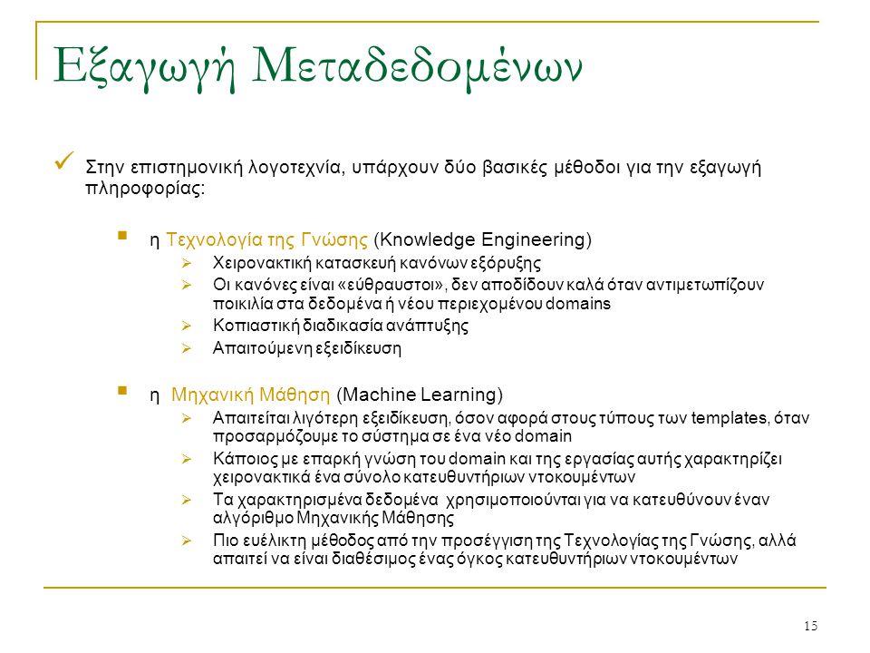 15 Εξαγωγή Μεταδεδομένων Στην επιστημονική λογοτεχνία, υπάρχουν δύο βασικές μέθοδοι για την εξαγωγή πληροφορίας:  η Τεχνολογία της Γνώσης (Knowledge Engineering)  Χειρονακτική κατασκευή κανόνων εξόρυξης  Οι κανόνες είναι «εύθραυστοι», δεν αποδίδουν καλά όταν αντιμετωπίζουν ποικιλία στα δεδομένα ή νέου περιεχομένου domains  Κοπιαστική διαδικασία ανάπτυξης  Απαιτούμενη εξειδίκευση  η Μηχανική Μάθηση (Machine Learning)  Απαιτείται λιγότερη εξειδίκευση, όσον αφορά στους τύπους των templates, όταν προσαρμόζουμε το σύστημα σε ένα νέο domain  Κάποιος με επαρκή γνώση του domain και της εργασίας αυτής χαρακτηρίζει χειρονακτικά ένα σύνολο κατευθυντήριων ντοκουμέντων  Τα χαρακτηρισμένα δεδομένα χρησιμοποιούνται για να κατευθύνουν έναν αλγόριθμο Μηχανικής Μάθησης  Πιο ευέλικτη μέθοδος από την προσέγγιση της Τεχνολογίας της Γνώσης, αλλά απαιτεί να είναι διαθέσιμος ένας όγκος κατευθυντήριων ντοκουμέντων