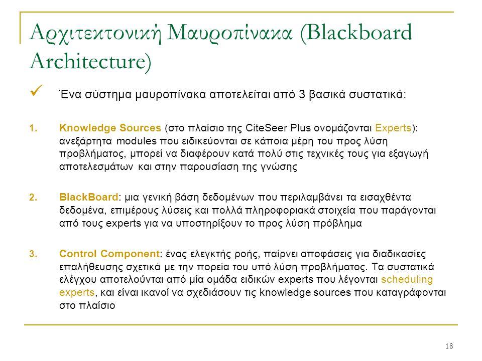 18 Αρχιτεκτονική Μαυροπίνακα (Blackboard Architecture) Ένα σύστημα μαυροπίνακα αποτελείται από 3 βασικά συστατικά: 1.