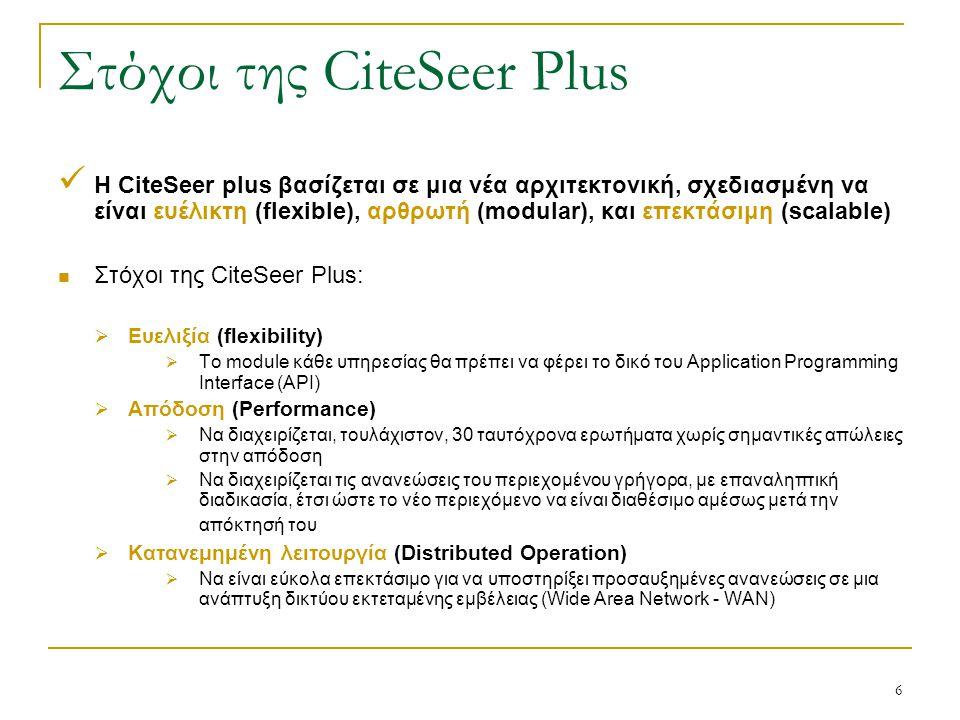 6 Στόχοι της CiteSeer Plus Η CiteSeer plus βασίζεται σε μια νέα αρχιτεκτονική, σχεδιασμένη να είναι ευέλικτη (flexible), αρθρωτή (modular), και επεκτάσιμη (scalable) Στόχοι της CiteSeer Plus:  Ευελιξία (flexibility)  Το module κάθε υπηρεσίας θα πρέπει να φέρει το δικό του Application Programming Interface (API)  Απόδοση (Performance)  Να διαχειρίζεται, τουλάχιστον, 30 ταυτόχρονα ερωτήματα χωρίς σημαντικές απώλειες στην απόδοση  Να διαχειρίζεται τις ανανεώσεις του περιεχομένου γρήγορα, με επαναληπτική διαδικασία, έτσι ώστε το νέο περιεχόμενο να είναι διαθέσιμο αμέσως μετά την απόκτησή του  Κατανεμημένη λειτουργία (Distributed Operation)  Να είναι εύκολα επεκτάσιμο για να υποστηρίξει προσαυξημένες ανανεώσεις σε μια ανάπτυξη δικτύου εκτεταμένης εμβέλειας (Wide Area Network - WAN)