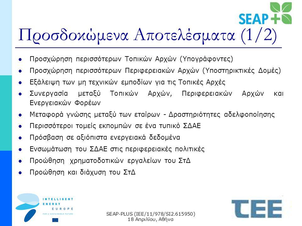 SEAP-PLUS (IEE/11/978/SI2.615950) 18 Απριλίου, Αθήνα Προσδοκώμενα Αποτελέσματα (1/2) Προσχώρηση περισσότερων Τοπικών Αρχών (Υπογράφοντες) Προσχώρηση περισσότερων Περιφερειακών Αρχών (Υποστηρικτικές Δομές) Εξάλειψη των μη τεχνικών εμποδίων για τις Τοπικές Αρχές Συνεργασία μεταξύ Τοπικών Αρχών, Περιφερειακών Αρχών και Ενεργειακών Φορέων Μεταφορά γνώσης μεταξύ των εταίρων - Δραστηριότητες αδελφοποίησης Περισσότεροι τομείς εκπομπών σε ένα τυπικό ΣΔΑΕ Πρόσβαση σε αξιόπιστα ενεργειακά δεδομένα Ενσωμάτωση του ΣΔΑΕ στις περιφερειακές πολιτικές Προώθηση χρηματοδοτικών εργαλείων του ΣτΔ Προώθηση και διάχυση του ΣτΔ