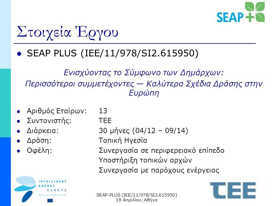 SEAP-PLUS (IEE/11/978/SI2.615950) 18 Απριλίου, Αθήνα Στοιχεία Έργου SEAP PLUS (IEE/11/978/SI2.615950) Ενισχύοντας το Σύμφωνο των Δημάρχων: Περισσότεροι συμμετέχοντες — Καλύτερα Σχέδια Δράσης στην Ευρώπη Αριθμός Εταίρων:13 Συντονιστής:ΤΕΕ Διάρκεια:30 μήνες (04/12 – 09/14) Δράση:Τοπική Ηγεσία Οφέλη:Συνεργασία σε περιφερειακό επίπεδο Υποστήριξη τοπικών αρχών Συνεργασία με παρόχους ενέργειας