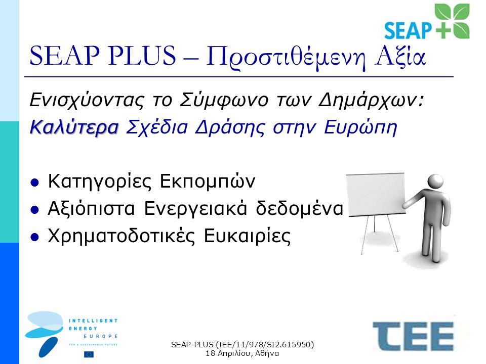 SEAP-PLUS (IEE/11/978/SI2.615950) 18 Απριλίου, Αθήνα SEAP PLUS – Προστιθέμενη Αξία Ενισχύοντας το Σύμφωνο των Δημάρχων: Καλύτερα Καλύτερα Σχέδια Δράσης στην Ευρώπη Κατηγορίες Εκπομπών Αξιόπιστα Ενεργειακά δεδομένα Χρηματοδοτικές Ευκαιρίες