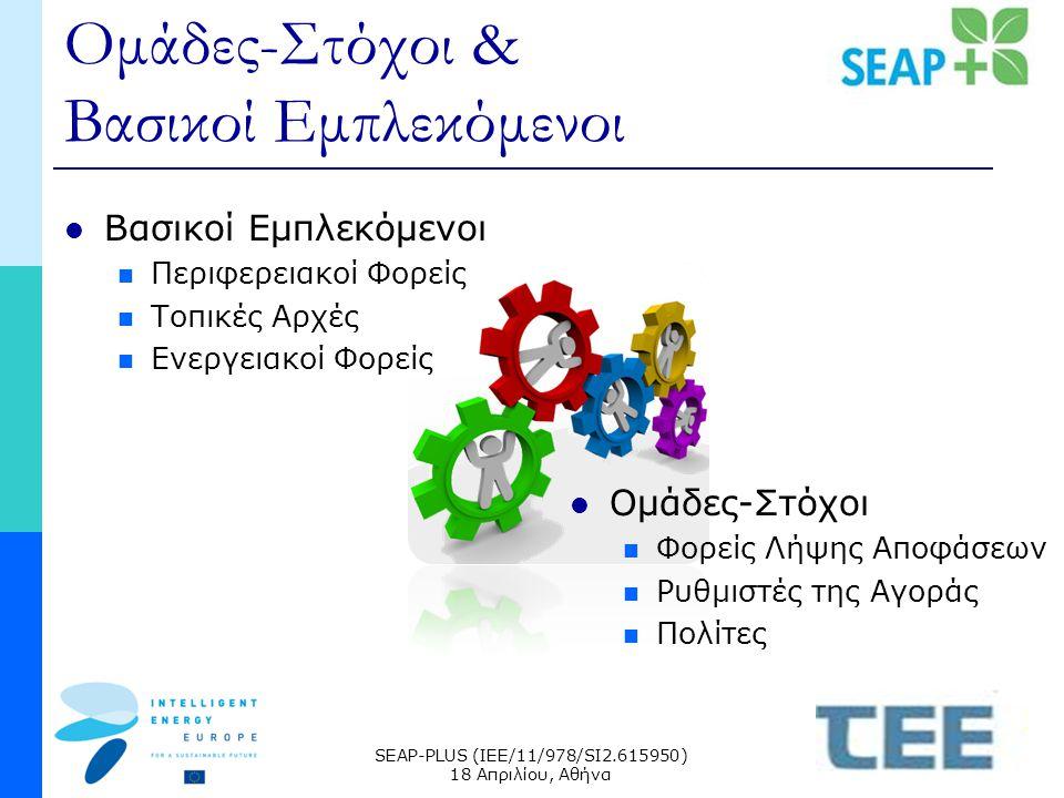 SEAP-PLUS (IEE/11/978/SI2.615950) 18 Απριλίου, Αθήνα Ομάδες-Στόχοι & Βασικοί Εμπλεκόμενοι Βασικοί Εμπλεκόμενοι Περιφερειακοί Φορείς Τοπικές Αρχές Ενεργειακοί Φορείς Ομάδες-Στόχοι Φορείς Λήψης Αποφάσεων Ρυθμιστές της Αγοράς Πολίτες