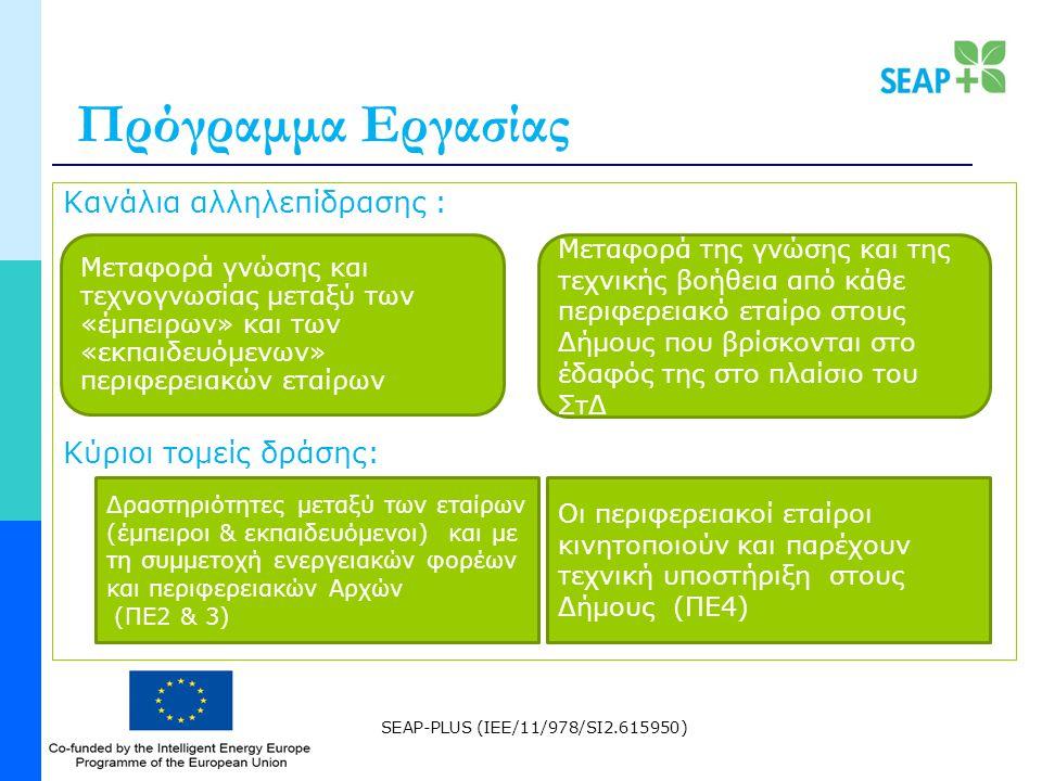 SEAP-PLUS (IEE/11/978/SI2.615950) Πρόγραμμα Εργασίας Κανάλια αλληλεπίδρασης : Κύριοι τομείς δράσης: Μεταφορά γνώσης και τεχνογνωσίας μεταξύ των «έμπειρων» και των «εκπαιδευόμενων» περιφερειακών εταίρων Μεταφορά της γνώσης και της τεχνικής βοήθεια από κάθε περιφερειακό εταίρο στους Δήμους που βρίσκονται στο έδαφός της στο πλαίσιο του ΣτΔ Δραστηριότητες μεταξύ των εταίρων (έμπειροι & εκπαιδευόμενοι) και με τη συμμετοχή ενεργειακών φορέων και περιφερειακών Αρχών (ΠΕ2 & 3) Οι περιφερειακοί εταίροι κινητοποιούν και παρέχουν τεχνική υποστήριξη στους Δήμους (ΠΕ4)
