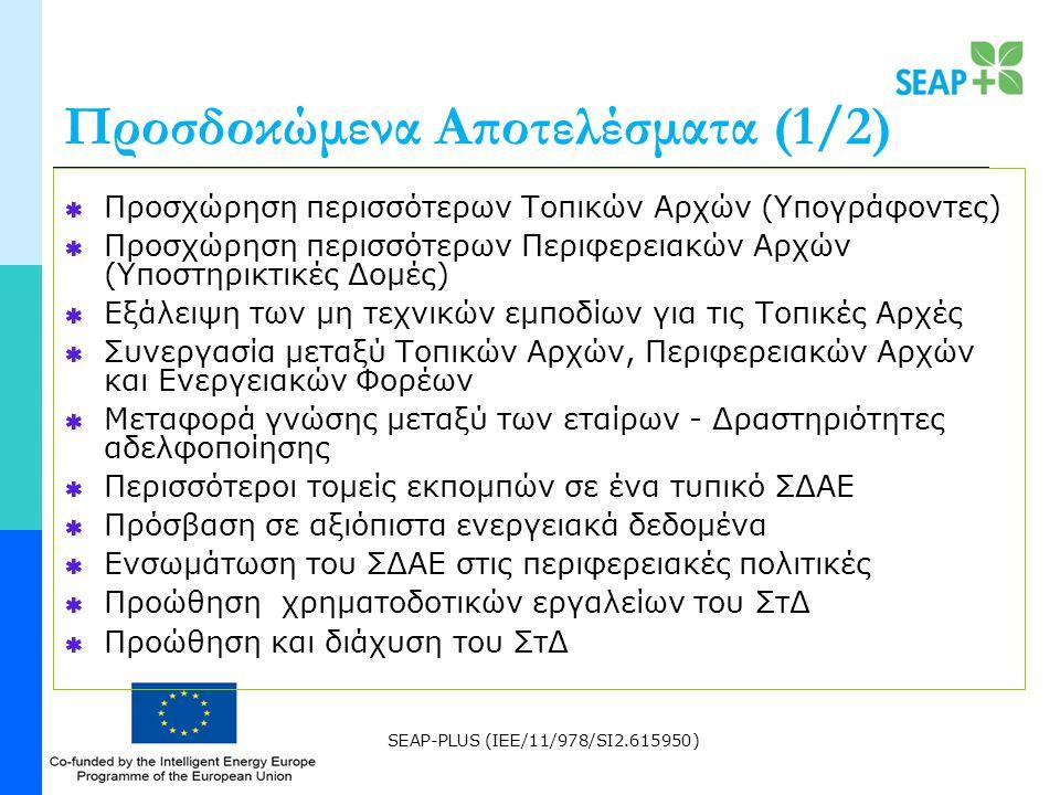 SEAP-PLUS (IEE/11/978/SI2.615950) Προσδοκώμενα Αποτελέσματα (1/2)  Προσχώρηση περισσότερων Τοπικών Αρχών (Υπογράφοντες)  Προσχώρηση περισσότερων Περιφερειακών Αρχών (Υποστηρικτικές Δομές)  Εξάλειψη των μη τεχνικών εμποδίων για τις Τοπικές Αρχές  Συνεργασία μεταξύ Τοπικών Αρχών, Περιφερειακών Αρχών και Ενεργειακών Φορέων  Μεταφορά γνώσης μεταξύ των εταίρων - Δραστηριότητες αδελφοποίησης  Περισσότεροι τομείς εκπομπών σε ένα τυπικό ΣΔΑΕ  Πρόσβαση σε αξιόπιστα ενεργειακά δεδομένα  Ενσωμάτωση του ΣΔΑΕ στις περιφερειακές πολιτικές  Προώθηση χρηματοδοτικών εργαλείων του ΣτΔ  Προώθηση και διάχυση του ΣτΔ