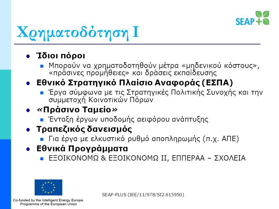 SEAP-PLUS (IEE/11/978/SI2.615950) Χρηματοδότηση Ι Ίδιοι πόροι Μπορούν να χρηματοδοτηθούν μέτρα «μηδενικού κόστους», «πράσινες προμήθειες» και δράσεις εκπαίδευσης Εθνικό Στρατηγικό Πλαίσιο Αναφοράς (ΕΣΠΑ) Έργα σύμφωνα με τις Στρατηγικές Πολιτικής Συνοχής και την συμμετοχή Κοινοτικών Πόρων «Πράσινο Ταμείο» Ένταξη έργων υποδομής αειφόρου ανάπτυξης Τραπεζικός δανεισμός Για έργα με ελκυστικό ρυθμό αποπληρωμής (π.χ.