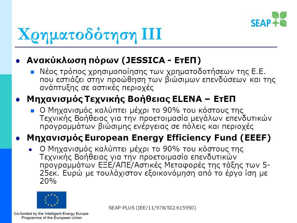 SEAP-PLUS (IEE/11/978/SI2.615950) Χρηματοδότηση ΙΙΙ Ανακύκλωση πόρων (JESSICA - ΕτΕΠ) Νέος τρόπος χρησιμοποίησης των χρηματοδοτήσεων της Ε.Ε.