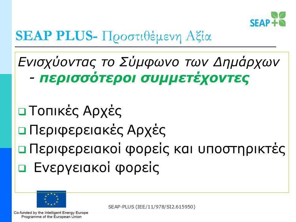 SEAP-PLUS (IEE/11/978/SI2.615950) SEAP PLUS- Προστιθέμενη Αξία Ενισχύοντας το Σύμφωνο των Δημάρχων - περισσότεροι συμμετέχοντες  Τοπικές Αρχές  Περιφερειακές Αρχές  Περιφερειακοί φορείς και υποστηρικτές  Ενεργειακοί φορείς