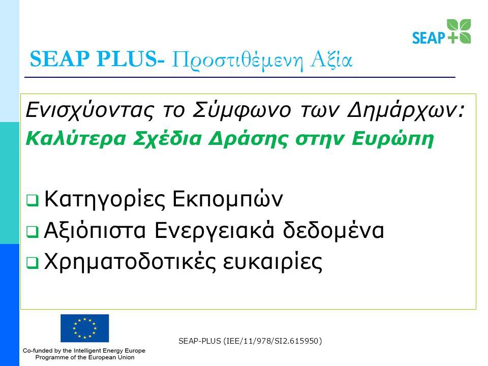 SEAP-PLUS (IEE/11/978/SI2.615950) SEAP PLUS- Προστιθέμενη Αξία Ενισχύοντας το Σύμφωνο των Δημάρχων: Καλύτερα Σχέδια Δράσης στην Ευρώπη  Κατηγορίες Εκπομπών  Αξιόπιστα Ενεργειακά δεδομένα  Χρηματοδοτικές ευκαιρίες