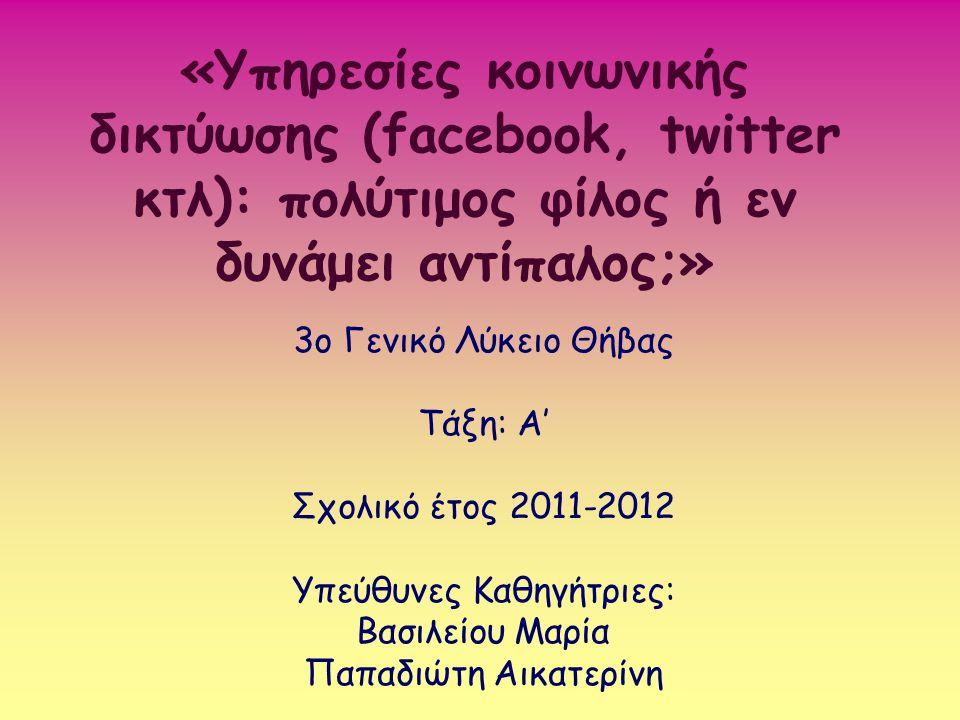 «Υπηρεσίες κοινωνικής δικτύωσης (facebook, twitter κτλ): πολύτιμος φίλος ή εν δυνάμει αντίπαλος;» 3ο Γενικό Λύκειο Θήβας Τάξη: Α' Σχολικό έτος 2011-20
