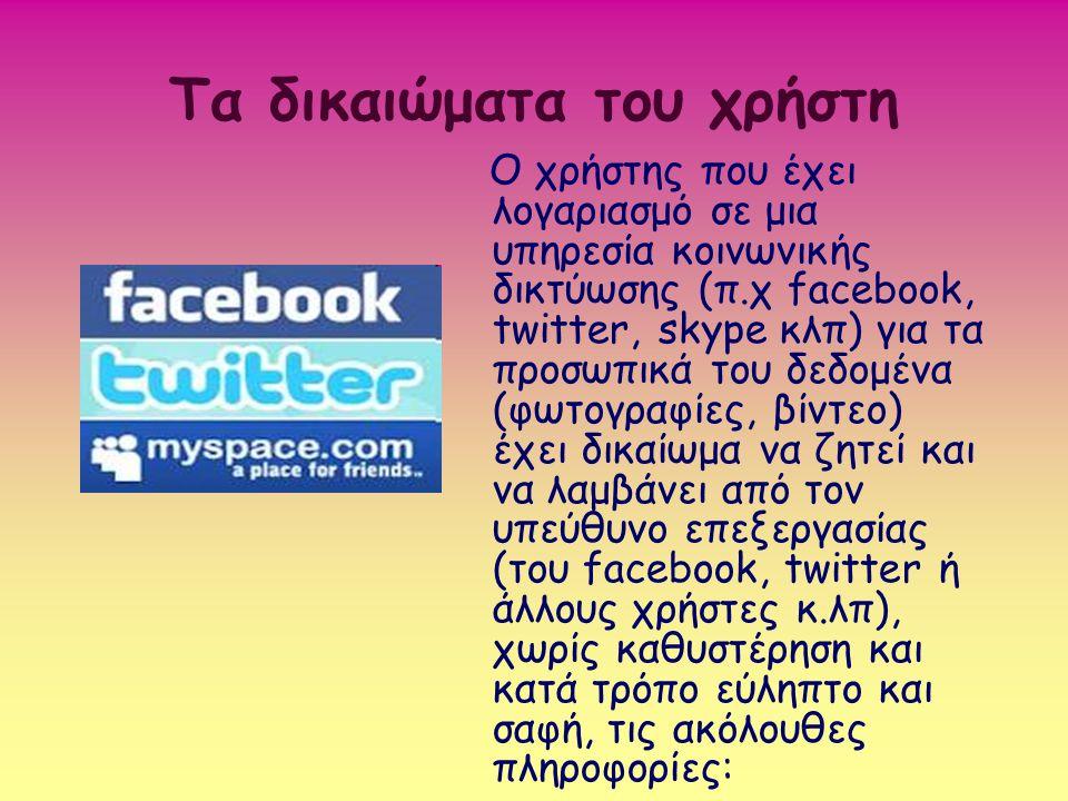 Τα δικαιώματα του χρήστη Ο χρήστης που έχει λογαριασμό σε μια υπηρεσία κοινωνικής δικτύωσης (π.χ facebook, twitter, skype κλπ) για τα προσωπικά του δε
