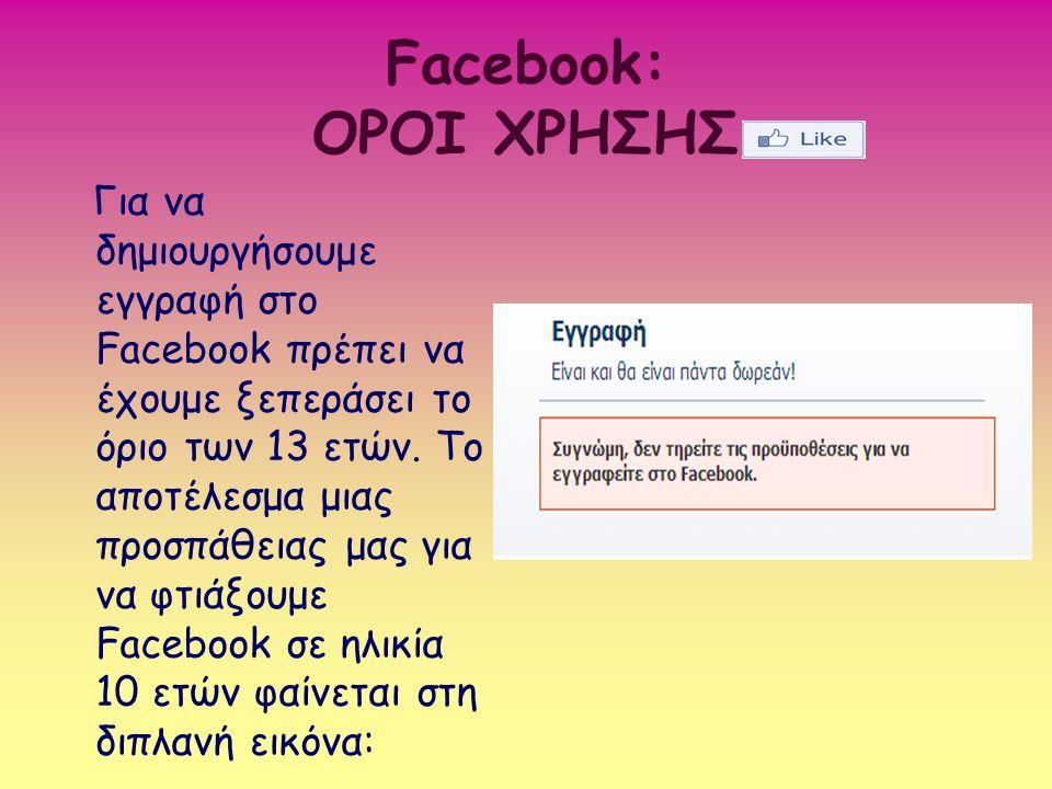 Facebook: ΟΡΟΙ ΧΡΗΣΗΣ Για να δημιουργήσουμε εγγραφή στο Facebook πρέπει να έχουμε ξεπεράσει το όριο των 13 ετών. Το αποτέλεσμα μιας προσπάθειας μας γι