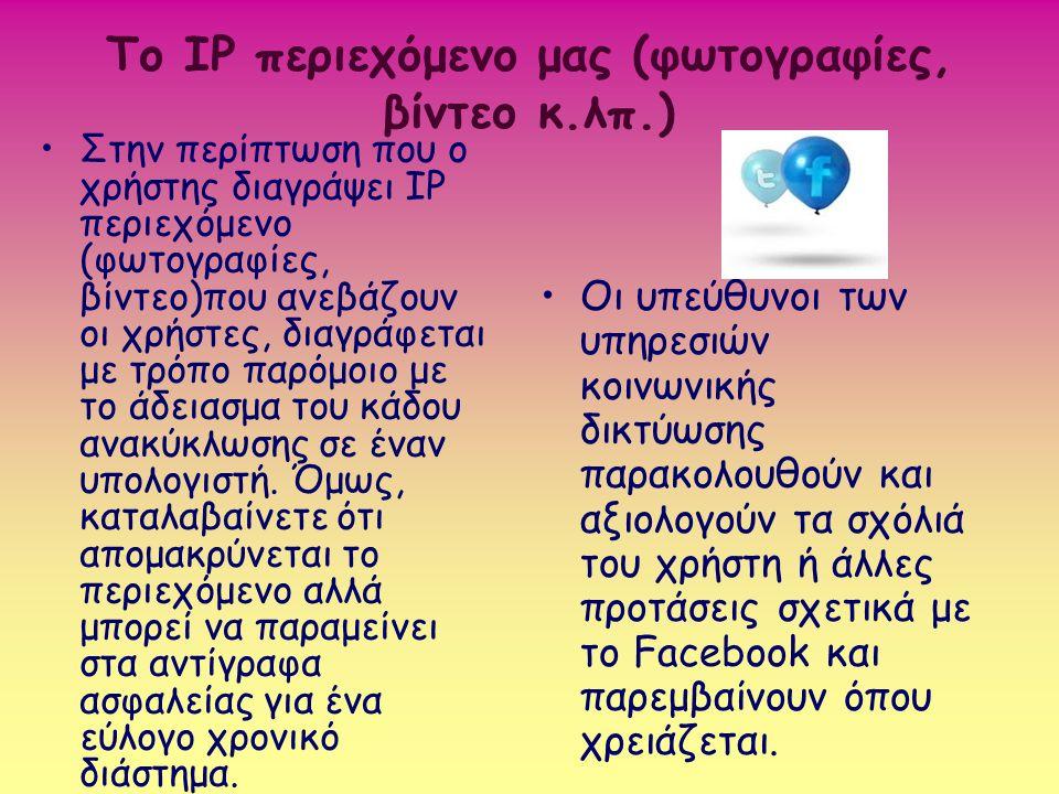 Το IP περιεχόμενο μας (φωτογραφίες, βίντεο κ.λπ.) Στην περίπτωση που ο χρήστης διαγράψει IP περιεχόμενο (φωτογραφίες, βίντεο)που ανεβάζουν οι χρήστες,