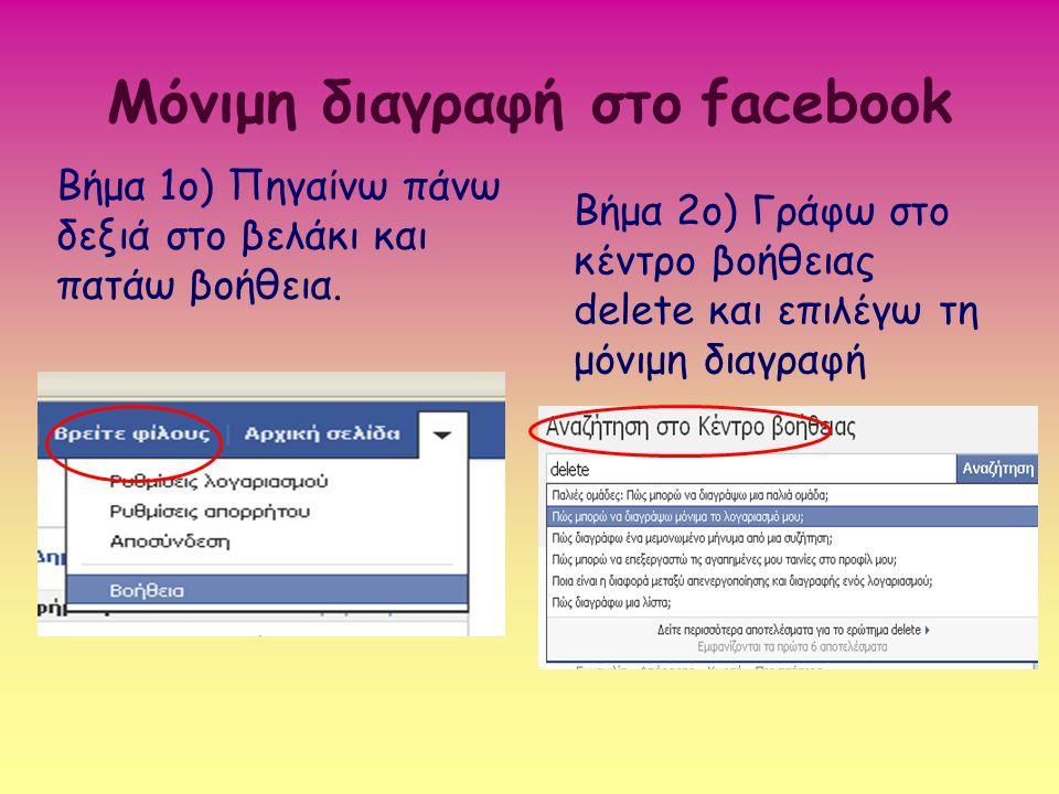 Μόνιμη διαγραφή στο facebook Βήμα 1ο) Πηγαίνω πάνω δεξιά στο βελάκι και πατάω βοήθεια. Βήμα 2ο) Γράφω στο κέντρο βοήθειας delete και επιλέγω τη μόνιμη