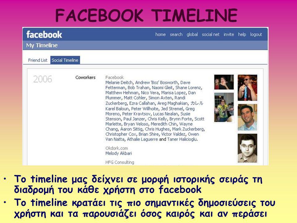 FACEBOOK TIMELINE Το timeline μας δείχνει σε μορφή ιστορικής σειράς τη διαδρομή του κάθε χρήστη στο facebook To timeline κρατάει τις πιο σημαντικές δη