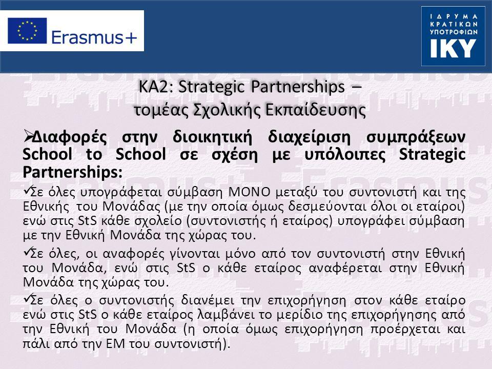 KA2: Strategic Partnerships – τομέας Σχολικής Εκπαίδευσης  Διαφορές στην διοικητική διαχείριση συμπράξεων School to School σε σχέση με υπόλοιπες Stra