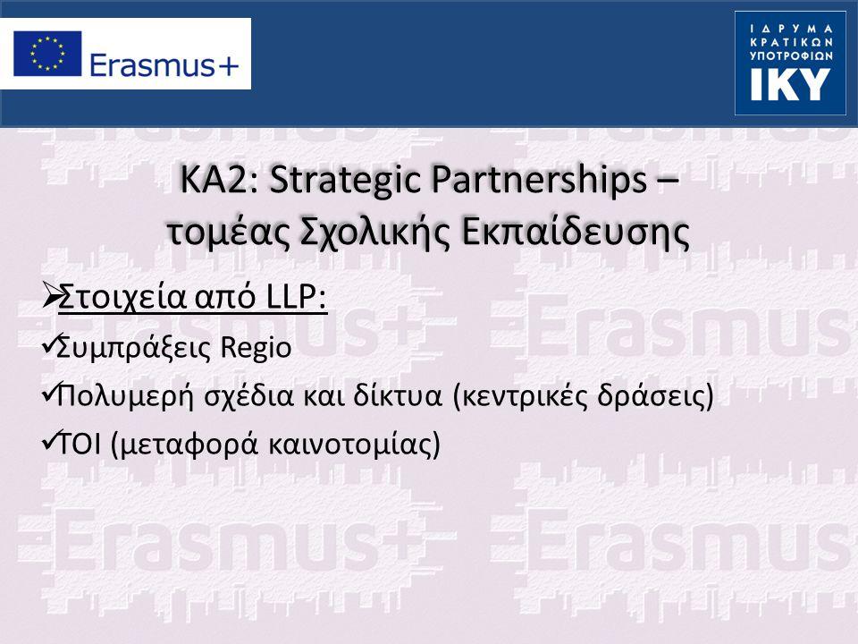 KA2: Strategic Partnerships – τομέας Σχολικής Εκπαίδευσης  Κατηγορίες: Διάφοροι φορείς (Cross sectoral): Συνεργασία σχολείων ή / και φορέων που εμπλέκονται στην εκπαίδευση οποιουδήποτε τύπου και βαθμίδας, με την προϋπόθεση ότι θα συνεισφέρουν με σαφή τρόπο στην επίτευξη των στόχων της σύμπραξης.