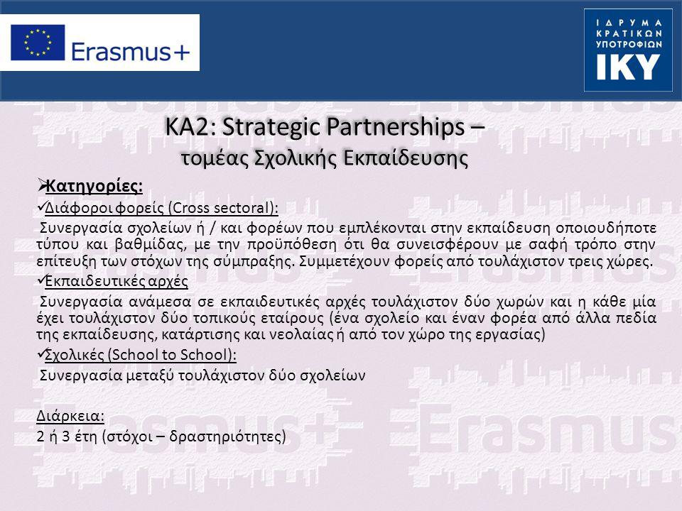 KA2: Strategic Partnerships – τομέας Σχολικής Εκπαίδευσης  Κατηγορίες: Διάφοροι φορείς (Cross sectoral): Συνεργασία σχολείων ή / και φορέων που εμπλέ