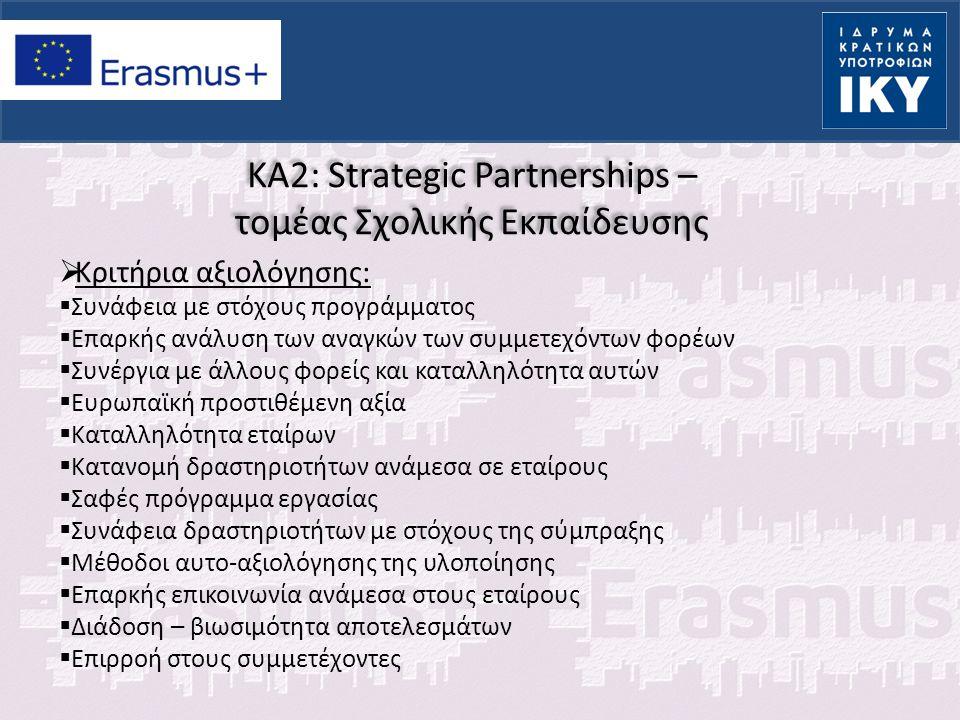 KA2: Strategic Partnerships – τομέας Σχολικής Εκπαίδευσης  Κριτήρια αξιολόγησης:  Συνάφεια με στόχους προγράμματος  Επαρκής ανάλυση των αναγκών των