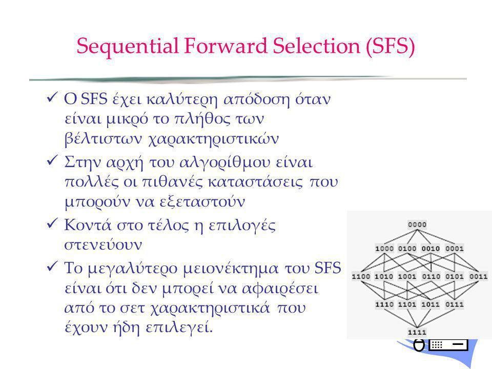 Sequential Forward Selection (SFS) Ο SFS έχει καλύτερη απόδοση όταν είναι μικρό το πλήθος των βέλτιστων χαρακτηριστικών Στην αρχή του αλγορίθμου είναι