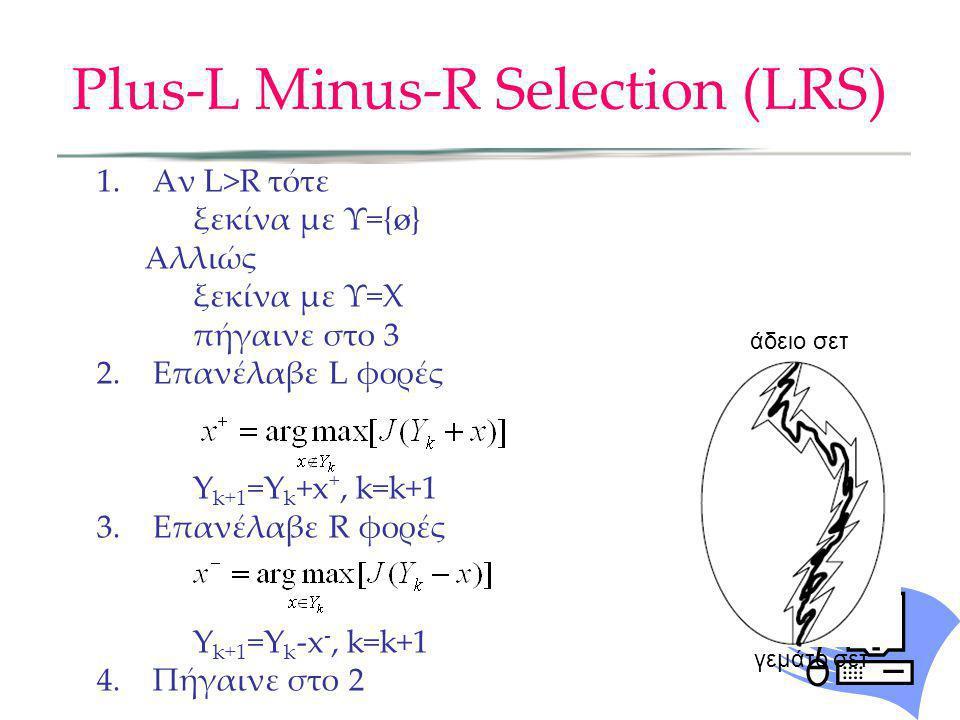 Plus-L Minus-R Selection (LRS) 1.Αν L>R τότε ξεκίνα με Υ={ø} Αλλιώς ξεκίνα με Υ=Χ πήγαινε στο 3 2.Επανέλαβε L φορές Y k+1 =Y k +x +, k=k+1 3.Επανέλαβε