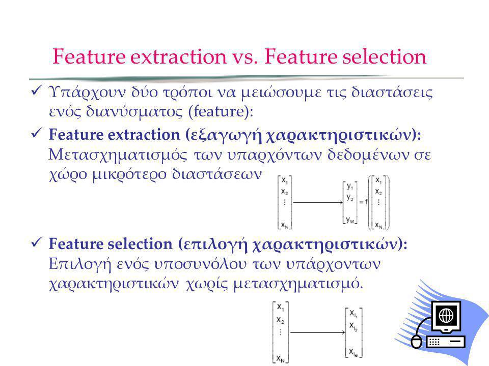 Επιλογή Χαρακτηριστικών - Feature selection Η Επιλογή χαρακτηριστικών αποκαλείται επίσης Feature Subset Selection (FSS) Αν και η FSS μπορεί να θεωρηθεί ως ειδική περίπτωση της εξαγωγής χαρακτηριστικών είναι πολύ διαφορετικό πρόβλημα Η FSS βλέπει το πρόβλημα της διαστατικότητας από άλλη άποψη Υπάρχει διαφορετικό σετ μεθοδολογιών για την FSS