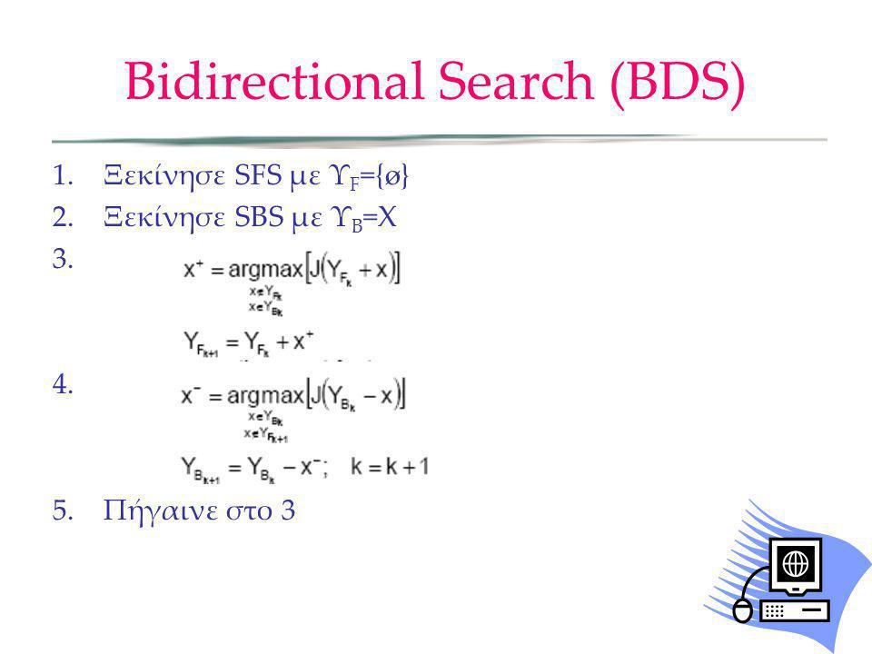 Bidirectional Search (BDS) 1.Ξεκίνησε SFS με Υ F ={ø} 2.Ξεκίνησε SBS με Υ B =X 3. 4. 5.Πήγαινε στο 3