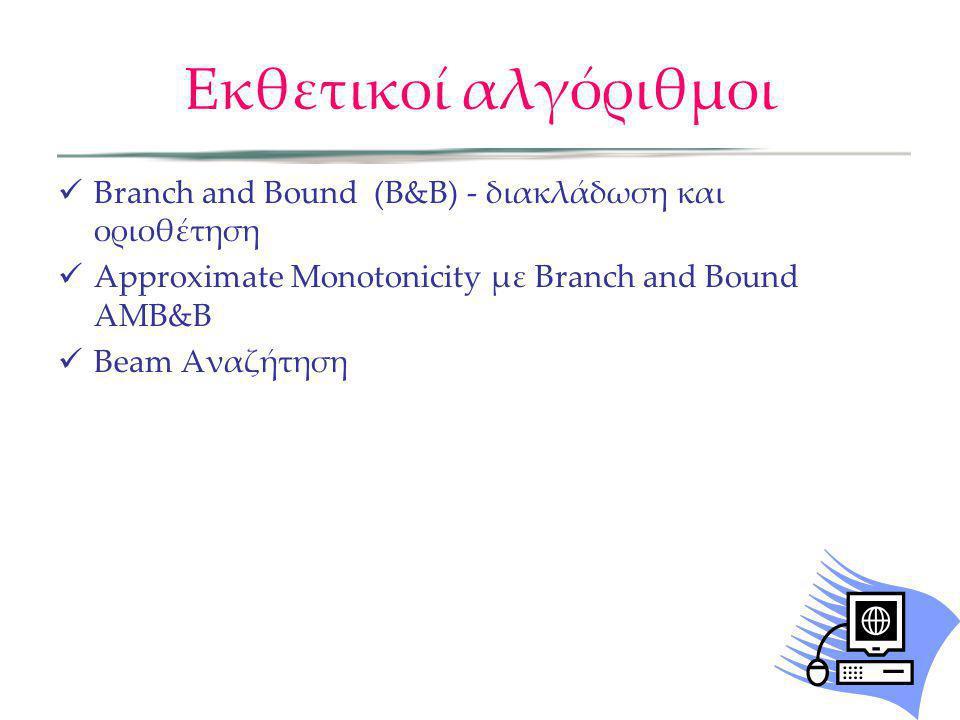 Εκθετικοί αλγόριθμοι Branch and Bound (Β&Β) - διακλάδωση και οριοθέτηση Approximate Monotonicity με Branch and Bound ΑΜΒ&Β Beam Αναζήτηση