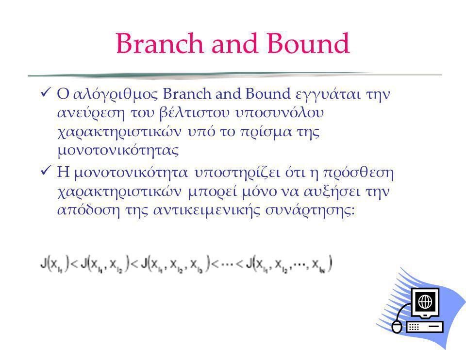 Branch and Bound Ο αλόγριθμος Branch and Bound εγγυάται την ανεύρεση του βέλτιστου υποσυνόλου χαρακτηριστικών υπό το πρίσμα της μονοτονικότητας Η μονο