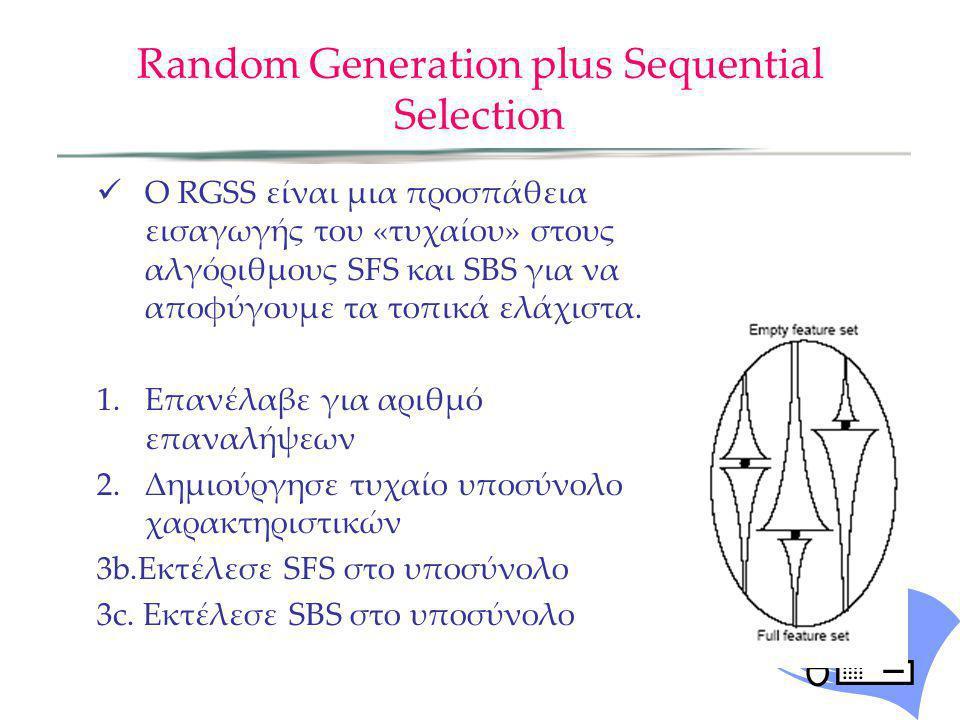 Random Generation plus Sequential Selection O RGSS είναι μια προσπάθεια εισαγωγής του «τυχαίου» στους αλγόριθμους SFS και SBS για να αποφύγουμε τα τοπ